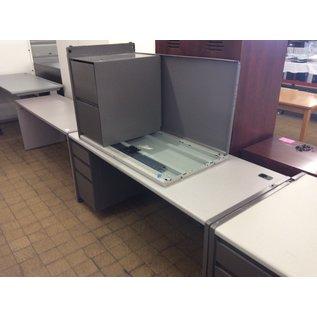 """30x70x29 1/2"""" Dk Green L/ped R/return metal desk (4/21/2020)"""