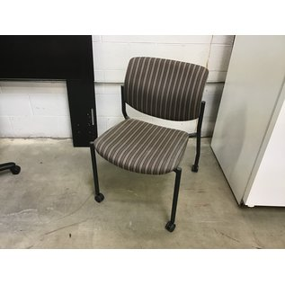 Brown/gray striped side chair on castors (9/14/20)