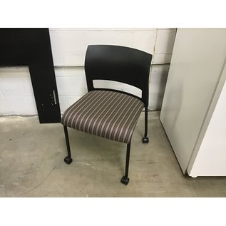 Brown/gray striped side chair on castors & plastic back (9/14/20)