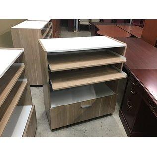 """18x36 3/4x32"""" Brown wood grain color cabinet on castors (9/14/20)"""