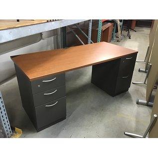 """29 1/2x66x28"""" Dk gray dbl pedestal desk (10/06/20)"""