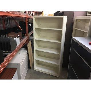 """15x36x72"""" White metal bookcase w/13 1/4"""" deep shelves (10/06/20)"""