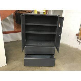 """19 1/4x42x66 3/4"""" Gray metal 2 door/2 drawer cabinet w/16 1/2"""" deep shelves (10/06/20)"""