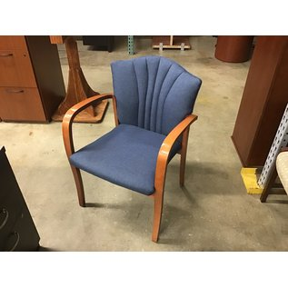 Blue padded wood frame side chair (10/09/20)