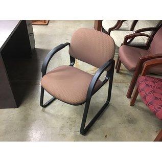 Brown padded metal frame side chair (10/09/20)