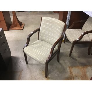 Tan pattern wood frame side chair (10/09/20)