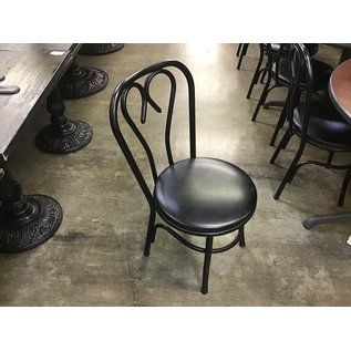 Black padded metal frame dining chair (10/09/20)