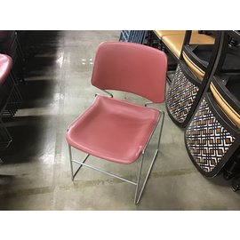 Red plastic seat metal frame stacking chair (10/13/2020)
