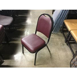 Maroon padded metal frame stacking chair (10/13/2020)