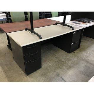"29 1/2x72x29 1/2"" Gray/black dbl ped desk (10/13/2020)"