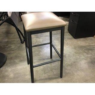 Dark gray metal stool/gold cushion seat (10/14/20)