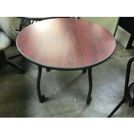 """36"""" Cherry color top round table on castors (10/14/20)"""