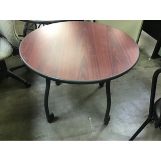 "36"" Cherry color top round table on castors (10/14/20)"