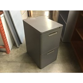 "14 1/2x19 3/4x26 1/2"" Gray metal 2 dr file cabinet (10/20/2020)"