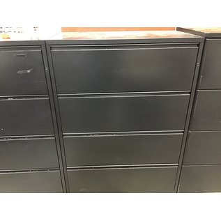 19 3/4x35 33/4x50 1/2 Black 4 drawer lateral file cabinet (10/20/20)
