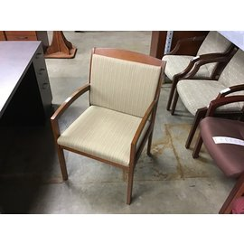 Tan pattern wood frame side chair (10/21/2020)