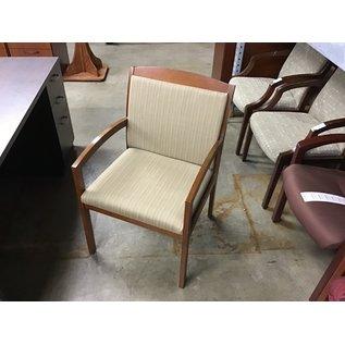 Tan pattern wood frame side chair (10/21/2020)