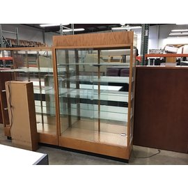 "18 1/2x48x76 1/2"" Wood/glass display case w/light"
