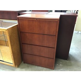"""20x36x54 1/2"""" Cherry wood 4 drawer lateral file cab (2/16/21)"""