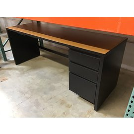 "24x72x29"" Tan top metal base R/ped desk (10/21/2020)"