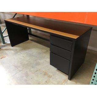 """24x72x29"""" Tan top metal base R/ped desk (10/21/2020)"""