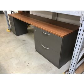 "23 1/2x90x28"" Wood top metal base dole ped desk (10/21/2020)"