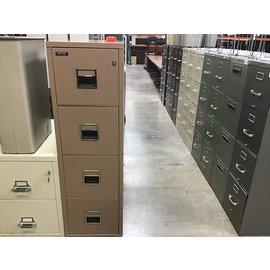31 1/2x17 1/2x56 1/2 Hercules brown metal 4 drawer fireproof file cab.. (11/5/20)