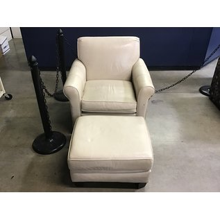 Beige leather living room chair w/footstool (11/5/2020)