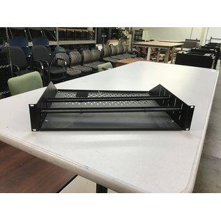 "3 1/2"" Black metal rack mt shelf w/vented bottom (11/5/2020)"
