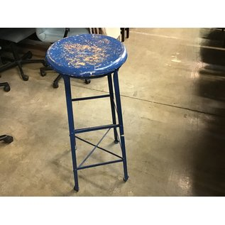 "Blue wooden top stool 36"" tall (11/18/20)"