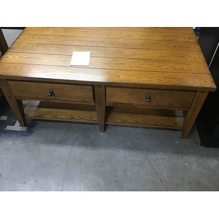 27x48x19 Lt. brown wood table 2drawers (1/14/21)