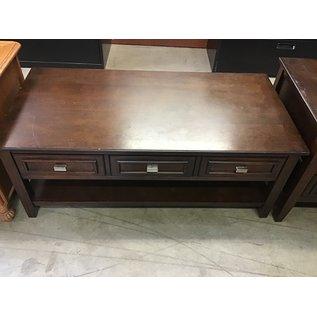 """24x47x19"""" Drk. Brown wood table 3 drawers (1/14/21)"""