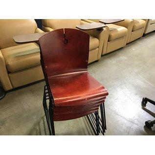 Dk. Bronze wood seat/black metal frame stacking chair (1/20/21)