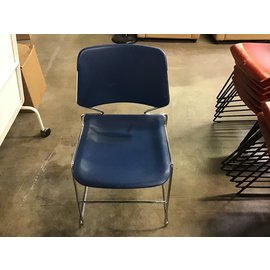 Blue plastic seat chrome frame stacking chair (1/20/21)
