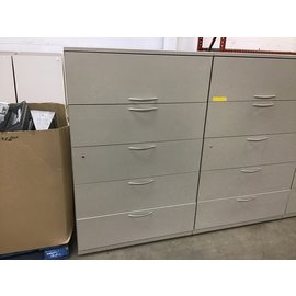 "19x42x65 1/2"" Lt gray 4 drawer/1 door Horizontal file cabinet (3/4/21)"
