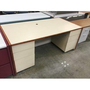 """36x72x29 1/2"""" Tan wood db pedestal desk (4/7/2021)"""