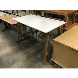 "30 3/4x55x37 3/4"" White wood top/frame drawing table (4/7/2021)"