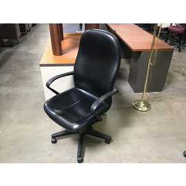 Black leather high back desk chair (4/7/2021)