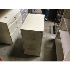 "25x15x28 1/2"" Beige metal 2 drawer file cabinet (4/13/2021)"