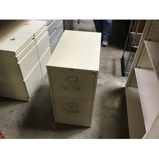 "25x15x28 1/2"" Beige metal 2 drawer file cabinet (4/13/2021)"