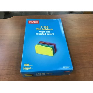 Staples Legal size 3-tab file folders/assorted colors (4/20/21)