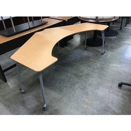 """25 1/2x81x27 1/2"""" Wood top curved computer/work table on castors (4/20/21)"""