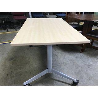 31 1/2x 55 adj. ht. Work table wood top on castors (4/21/21)