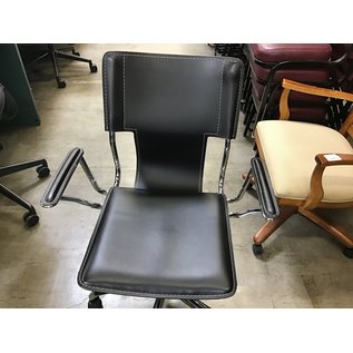 Black vinyl & chrome metal desk chair (4/21/21)