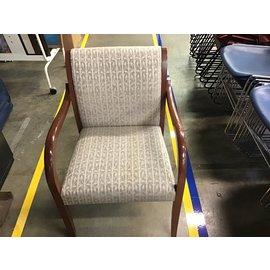 Gold & brown leaf pattern wood side chair (4/21/21)