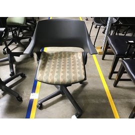 Gray plastic back green-gold pattern chair (4/22/21)