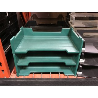 Green plastic 3 tier paper tray (4/22/2021)