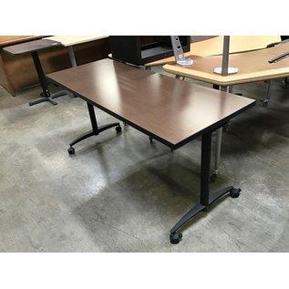 """24x60x28 3/4"""" Dk brown top work table on castors (4/26/2021)"""