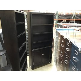 "11 1/4x34 1/4x75"" Black wood bookcase w/cabinet (4/26/2021)"
