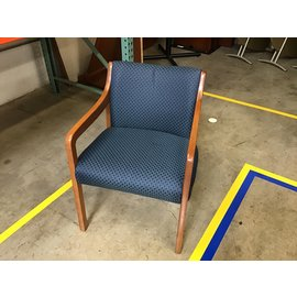 Blue/green pattern padded wood frame side chair (4/26/2021)